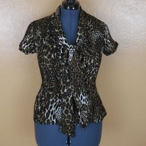 Sunny Leigh Animal Print Top On Trend Size M